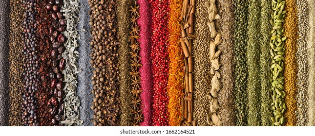 spices and herbs panoramic background. various seasonings are scattered on table.  flavoring for design of website header or food packaging.