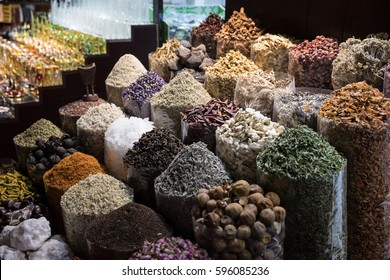 Spices and herbs for sale at the Dubai old souk market