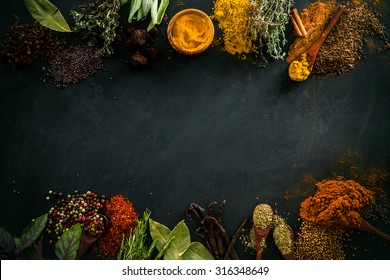Spices and herbs. Variety of spices and mediterranean herbs. Food background
