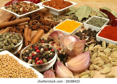 Spices, herbs and vegetables. Colorful natural food ingredients.