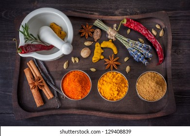 Spices and herbs in vintage style