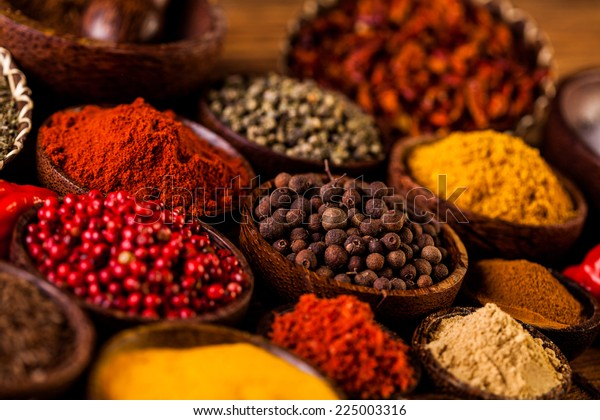 Spices Indonesian Wooden Bowls Stock Photo (Edit Now) 225003316