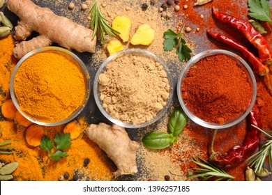 spices with ingredients, curry- chili-   coriander- ginger