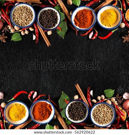 Spices Ingredients On Dark Background Healthy Stock Photo ...