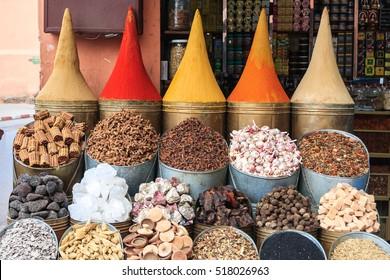 Spices in a market. Marrakech. Morocco