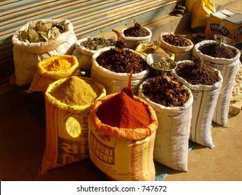 spices in a market place