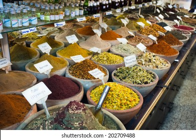 Spices nuts and other food for sale at a market in the old city Jerusalem, Israel