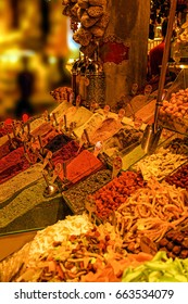Spices, nuts and other snacks  in a Turkish bazaar  in Istanbul, Turkey