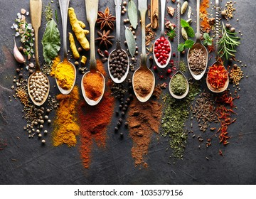 Spices on black board