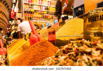 spices on display in the spice bazar ( Egyptian bazaar ) in Istanbul Turkey