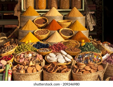Spices on a moroccan  market,Marrakesh, Morocco.