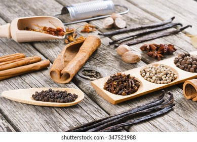 spices on old wooden table