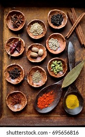 spices on the rusted tray