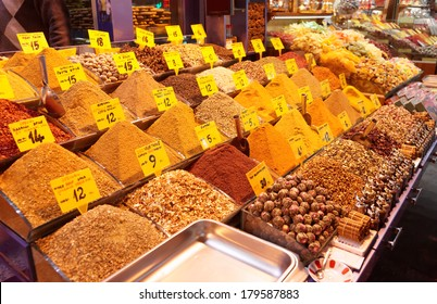 Spices on Turkish market stall, trademarks deleted or modified