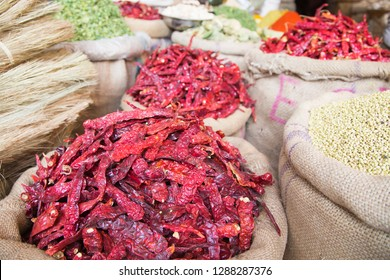 Spices and other goods in old market of Bikaner India