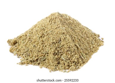 spices - pile of Lamb seasoning mix over white