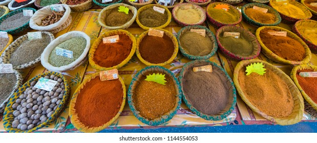 Spices for sale at Wednesday Market in St Rémy de Provence. Buches du Rhone, Provence, France.