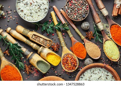 Spices and seasonings for cooking in the composition on the table