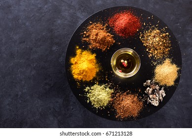 Spices, seasonings and herbs. Culinary concept