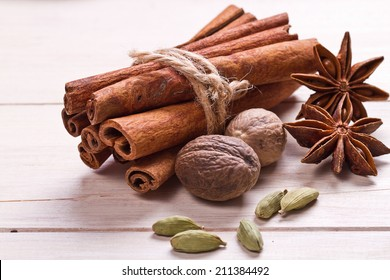Spices set.Various seasonings for cooking, anise, cardamom, cloves, cinnamon