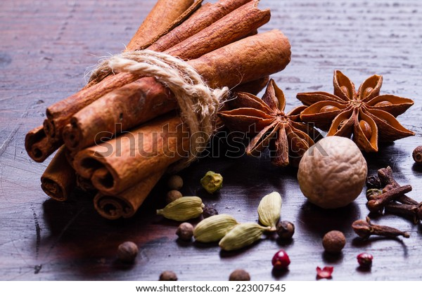 Spices set.Various seasonings for cooking, anise, cardamom, cloves