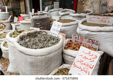 Spices sold in sacks on a market of old Akko (Acre), Israel
