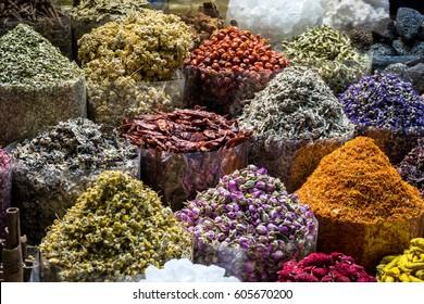 Spices in spice market. Dubai, UAE.