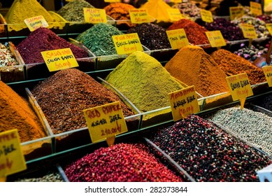 Spices and tea on a bazaar in istanbul