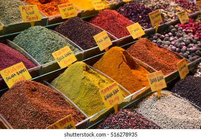 Spices and teas on the Egyptian market in Istanbul