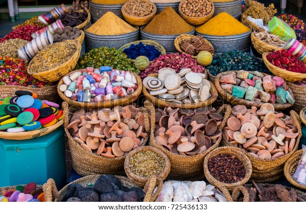 Spices in a traditional market of Morocco