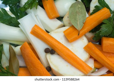spices and vegetables cut fot making soup or broth