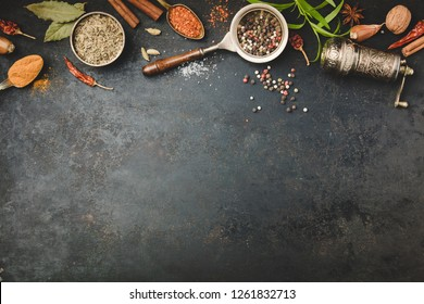 Spices and vintage pepper grinder