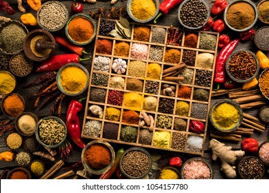 Spices in wooden box, Cooking ingredient