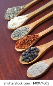 Spices in a wooden spoons on table