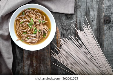 Spicy asian soup with soba noodles