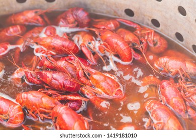 Spicy Boiled Crawfish in a Pot of Hot Water