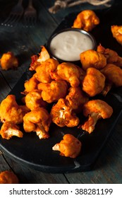 Spicy Breaded Buffalo Chicken Cauliflower with Blue Cheese Sauce