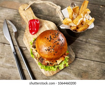 Spicy burger and fries