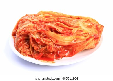Spicy cabbage is on the white background