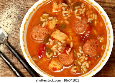 Spicy Cajun Chicken and Sausage Rice Gumbo on Table