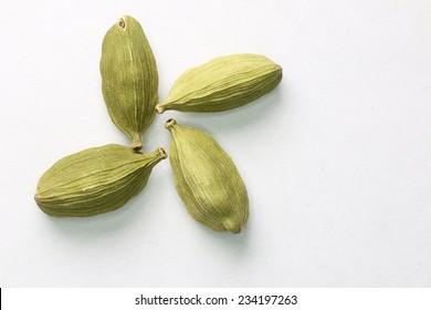 Spicy cardamom seeds close-up. Macro.