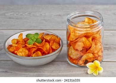 spicy cassava chips, Indonesian snacks