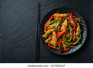 Spicy chicken salad with vegetables, oriental style cuisine.
