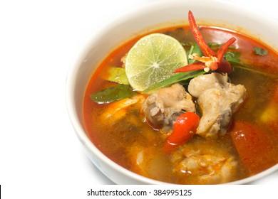 Spicy Chicken Soup / tom yum gai / thai food.