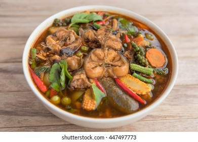 Spicy curry catfish with mixed vegetable,Thai style food