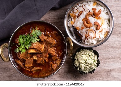 Spicy and delicious beef curry with ghee rice
