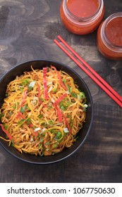 Spicy delicious noodles placed in a bowl