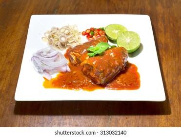 Spicy fish Canned Sardines Salad, Thai food