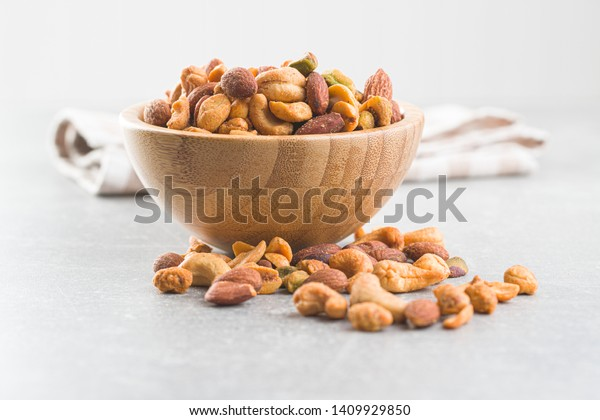 Spicy flavoured nuts. Mix of nuts in bowl.