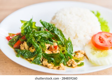 Spicy Fried basil leaf with chicken and rice
